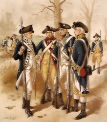 Soldiers meeting during the Revolutionary War