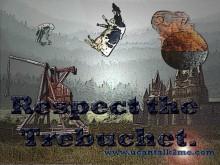 Trebuchet Launching Rocks at Castle